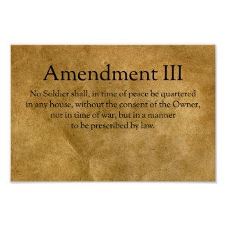 The Third Amendment to the U.S. Constitution Poster