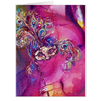 THE THIRD MASK  / VENETIAN MASQUREADE,pink purple Card