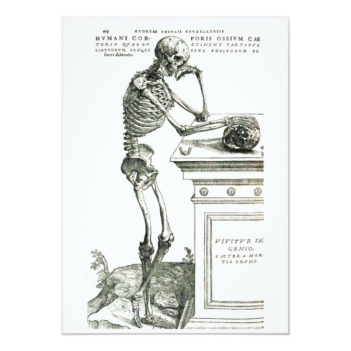 "The Thoughtful Skeleton 5"" X 7"" Invitation Card"