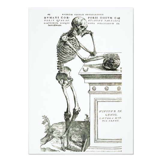 """The Thoughtful Skeleton 5"""" X 7"""" Invitation Card"""