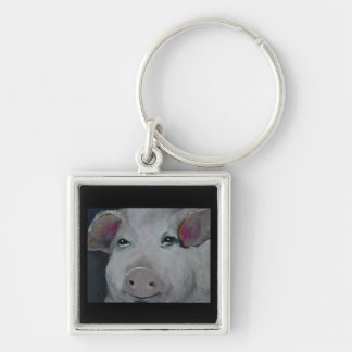 The Three Little Piggies Collection Silver-Colored Square Keychain