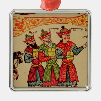 The Three Magi, detail from the Nativity Silver-Colored Square Ornament
