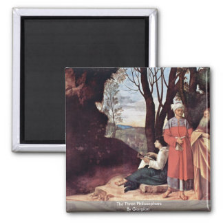 The Three Philosophers By Giorgione Square Magnet