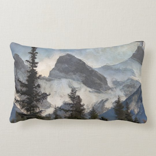 The Three Sisters - Canadian Rocky Mountains Lumbar Pillow