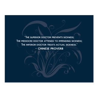 The three types of doctor - health wisdom proverb postcard