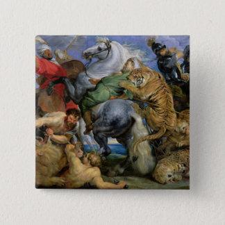 The Tiger Hunt, c.1616 2 Inch Square Button