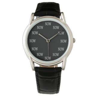 The Time is NOW wristwatch: White letters on black Watch