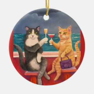 The Toasting Cats Ceramic Ornament