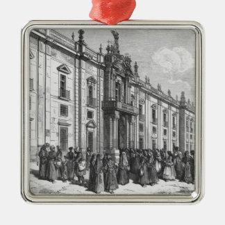 The tobacco factory at Seville Silver-Colored Square Ornament