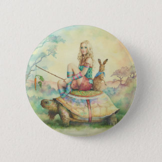 'The Tortoise & the Hare' 2 Inch Round Button