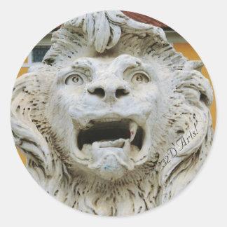 The Tortured Lion of Massa, Round Sticker, Glossy Round Sticker