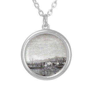 The Tow of Malghera by Canaletto Round Pendant Necklace