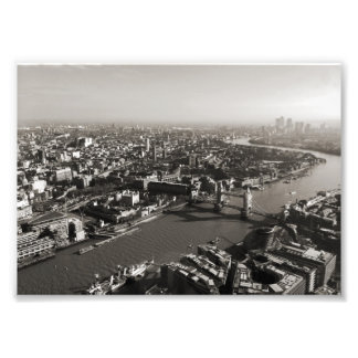 The Tower and Tower Bridge, London - B&W Photo Print