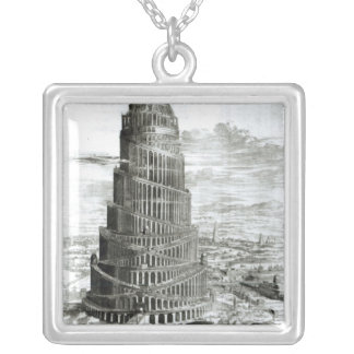The Tower of Babel, 1679 Silver Plated Necklace