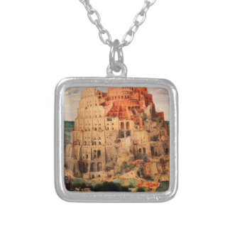 The Tower of Babel by Pieter Bruegel the Elder Silver Plated Necklace