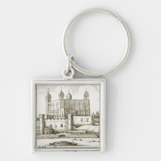 The Tower of London, 1647 (engraving) Silver-Colored Square Keychain