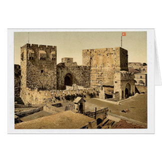 The towers of David and Hippicus, Jerusalem, Holy Card