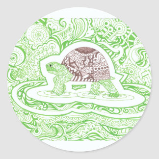 The Travelling Tortoise Classic Round Sticker