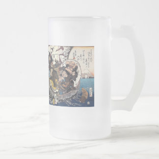 The treasure boat which places seven luck God Frosted Glass Beer Mug