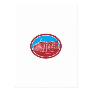 The Treasury Building Washington DC Woodcut Retro Post Card