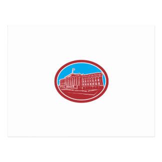 The Treasury Building Washington DC Woodcut Retro Postcard