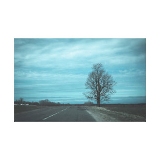 The tree by the road canvas print