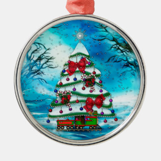 The Tree Christmas Folk Art Silver-Colored Round Ornament