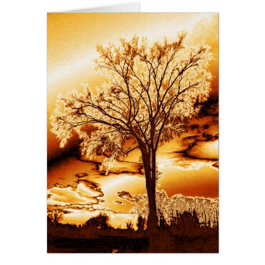 The Tree in Molten Gold Card (blank)