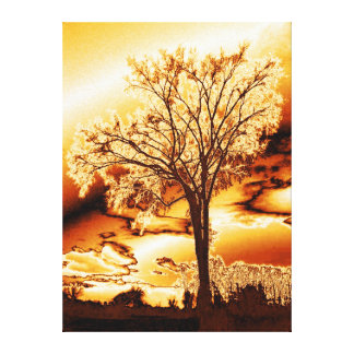 The Tree in Molten Gold on Wrapped Canvas