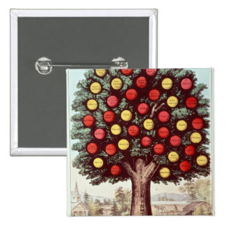 The Tree of Temperance, 1872 2 Inch Square Button