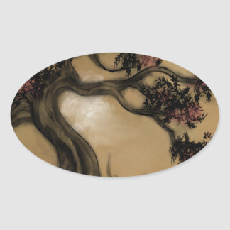 The Tree, Plum Blossoms Oval Sticker