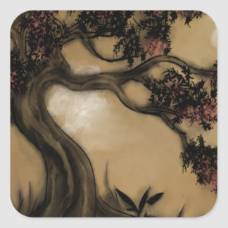 The Tree, Plum Blossoms Square Sticker
