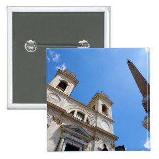The Trinita dei Monti church in Rome, Italy is 2 Inch Square Button