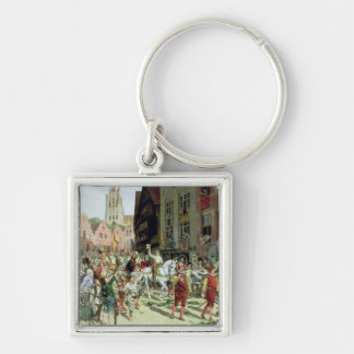 The Triumphal Arrival in Rotterdam Silver-Colored Square Keychain