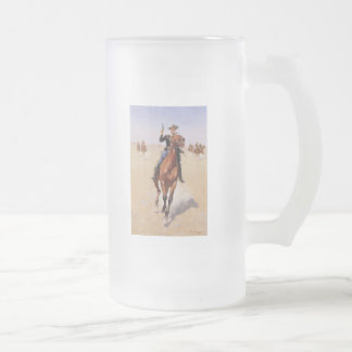 The Trooper by Frederic Remington Frosted Glass Beer Mug