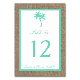The Tropical Palm Tree Beach Wedding Collection Table Card