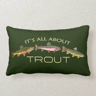 The Trout Fly Fisherman's Fisherwoman's Lumbar Pillow