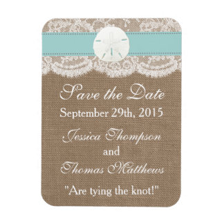 The Turquoise Sand Dollar Beach Wedding Collection Magnet