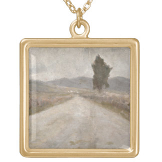 The Tuscan Road, c.1899 (board) Gold Plated Necklace