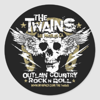The TWAINS Skull n' Horseshoe sticker! Classic Round Sticker