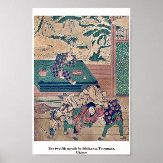 The twelfth month by Ishikawa, Toyomasa, Ukiyoe Posters