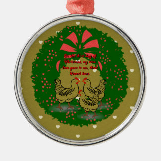 The Twelve Days of Christmas Collection: Day Three Silver-Colored Round Ornament