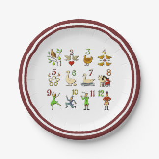 The Twelve Days of Christmas Your Border Color Paper Plate
