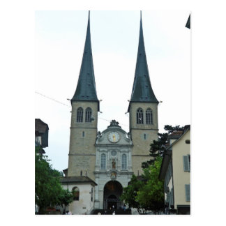 The twin spires of Hof(Hofkirche)church in Lucern Postcard