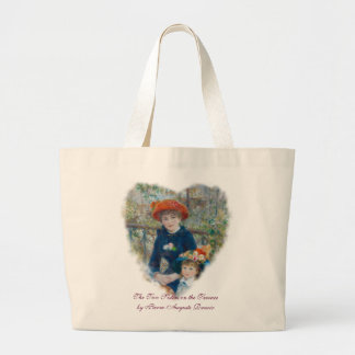 The Two Sisters on the Terrace by Renoir Large Tote Bag