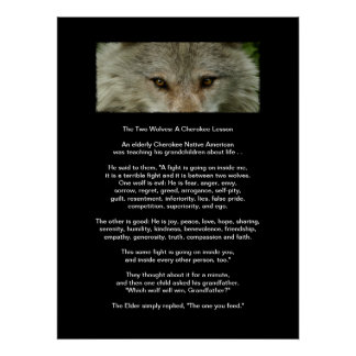 The TWO WOLVES CHEROKEE LESSON Art Poster