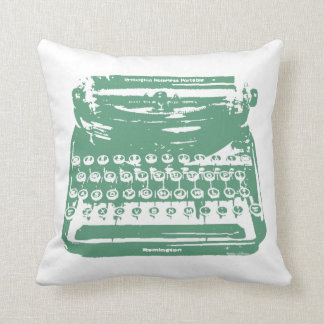 the typewriter - green throw pillow