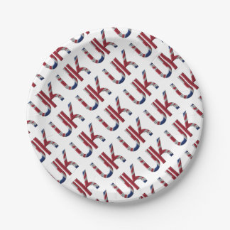 The UK Union Jack British Flag Typography Elegant 7 Inch Paper Plate