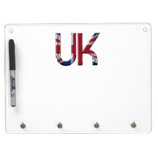 The UK Union Jack British Flag Typography Elegant Dry Erase Board With Keychain Holder