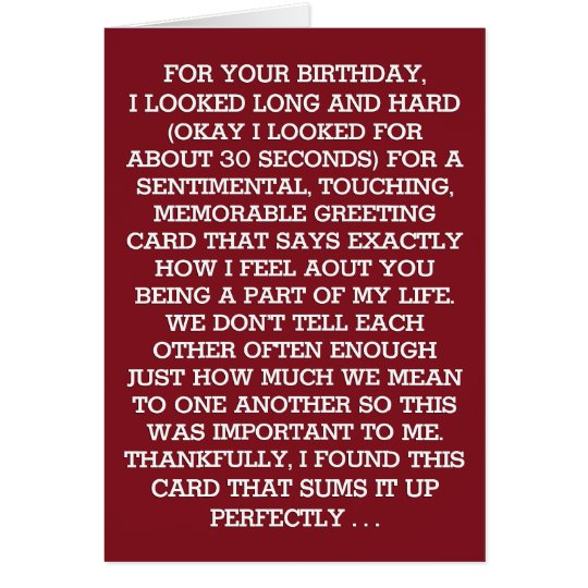 The Ultimate Sentimental Birthday Message (wine) Card